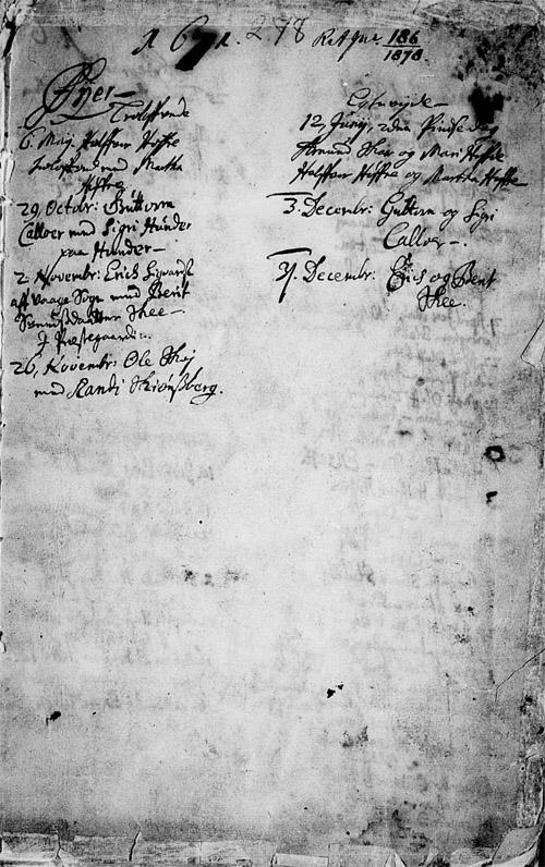 Kildeinformasjon: Oppland fylke, Øyer, Ministerialbok nr. 1 (1671-1727), Kronologisk liste 1671, side 0-1.