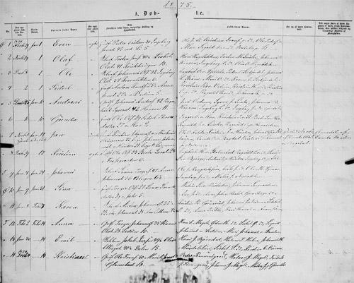 Kildeinformasjon: Oppland fylke, Øyer, Ministerialbok nr. 7 (1875-1878), Fødte og døpte 1875, side 1a.